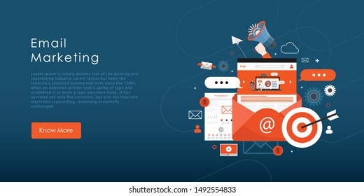 Email advertising campaign, e-marketing, reaching target audience with emails flat vector concept with icons
