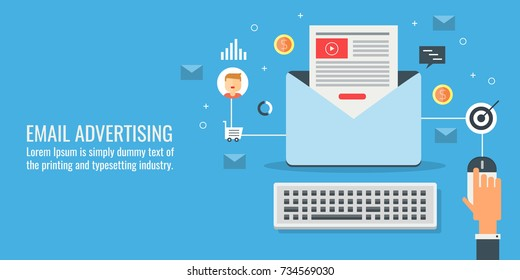 Email advertising, marketing, campaign, newsletter flat design vector illustration with icons