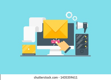 Email advertising, Sending email, Opening email, flat design vector banner