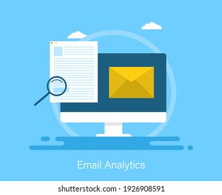 Email analytic. Business management, analysis. Web banner template. Vector illustration design.