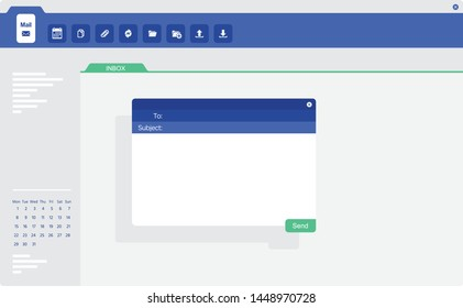 Email application ui screen with pop-up send window.