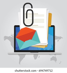 email attachment icon paper document clip above laptop screen and envelope