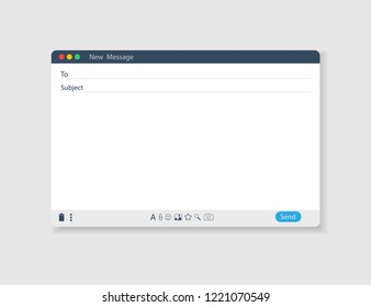 E-mail blank template internet mail frame interface for mail message.
