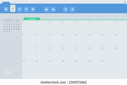 Email calendar application screen, interface.