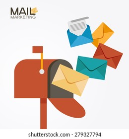 E-mail concept . Marketing e-mail . Mailbox and colored envelopes. File is saved in AI10 EPS version. This illustration contains a transparency
