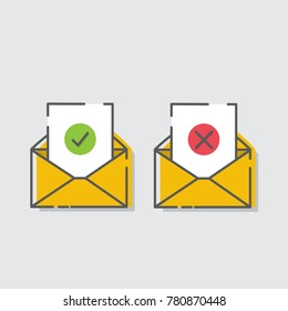 E-mail concept. Received mail or not receive mail, Marketing e-mail.