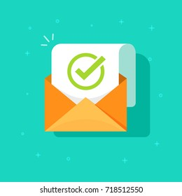 Email confirmation vector illustration, flat cartoon envelope with confirmation letter document, checked or accepted message icon, approved document concept or e-mail checklist
