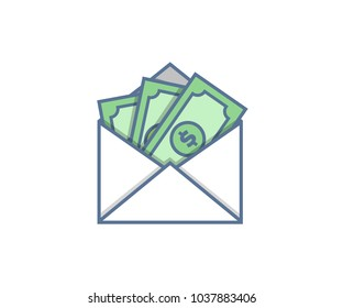 Email envelope delivery with cash. Vector icon trendy illustration