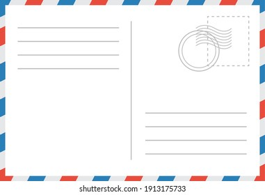 Email envelope vector illustration.  Post card retro template. Blank post mockup. Vector holiday border.