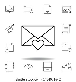 email favorite message outline icon. Detailed set of unigrid multimedia illustrations icons. Can be used for web, logo, mobile app, UI, UX