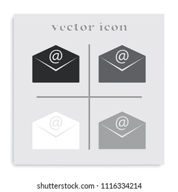 Email flat black and white vector icon. Envelope illustration.