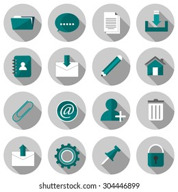 email flat icon set vector illustration design with long shadow isolated on white background. for web and mobile application