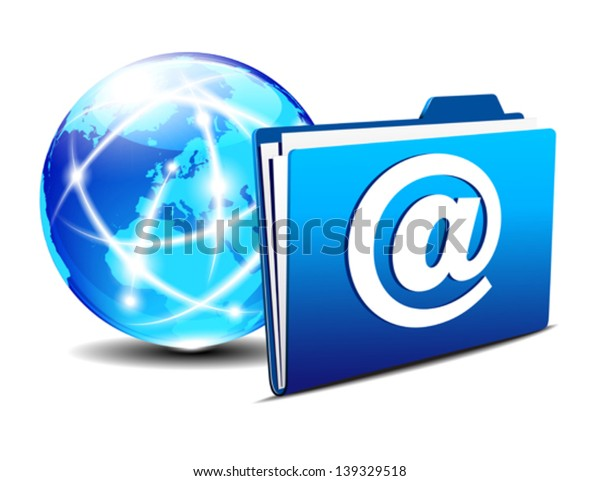 email folder and communication Internet World Europe - Network concept, Communication Internet Globe and folder