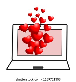 Email greeting on valentines day. Monitor screen with flying hearts isolated. Symbol networking. Vector illustration