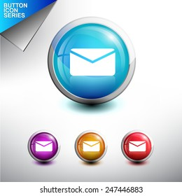 Email  Icon. Glossy Button Icon Set. Vector Illustration