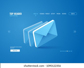 Email icon isometric, website page template vector on blue background