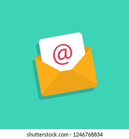 Email icon. Mail envelope with email in flat design. Eps10