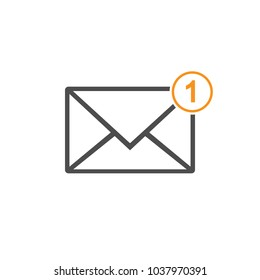 Email icon, one missed message, message sign, grey on whitebackground. Vector flat illustration.