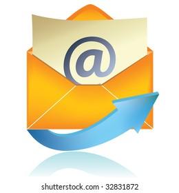 E-mail icon, orange #1 / vector