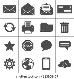 Email Icons. Simplus series. Each icon is a single object (compound path)
