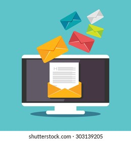 Email illustration. Sending or receiving email concept illustration. flat design. Email marketing.
