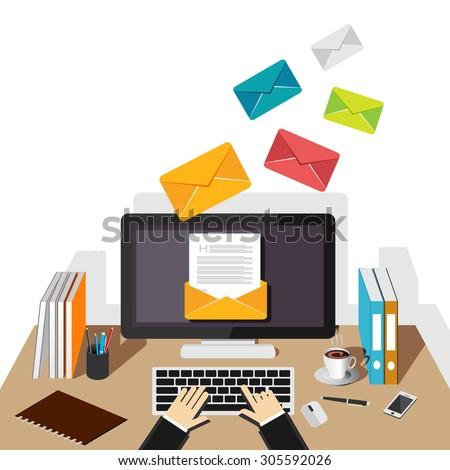 email illustration sending receiving email concept のベクター画像