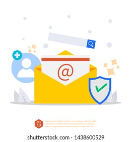 email inbox vector concept. electronic message with add account, shield, and search item services. mail message idea as part of business marketing. flat style illustration and eps 10