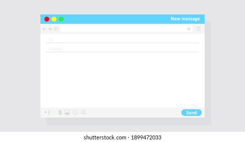 Email interface in color. Colored template for sending messages isolated on a gray background. Vector illustration