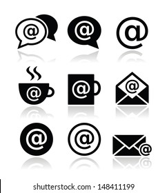 Email, internet cafe, wifi vector icons set