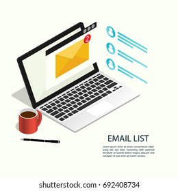 email list laptop isometric vector