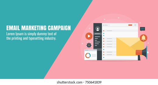 Email marketing campaign, drip marketing, newsletter, customer subscription flat vector banner with icons