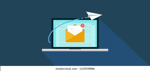 Email marketing campaign, newsletter marketing, drip marketing, email marketing, email automatic auto reply response. flat banner concept with icons. Vector Illustration