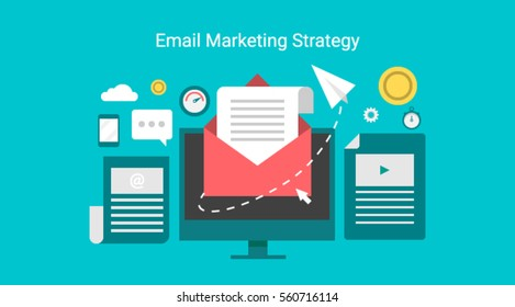Email marketing campaign, newsletter marketing, drip marketing, email marketing flat banner concept with icons