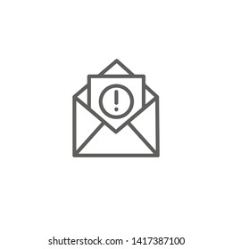 Email marketing campaigns icon with  envelope and exclamation point
