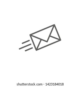 Email marketing campaigns icon with flying envelope showing being sent