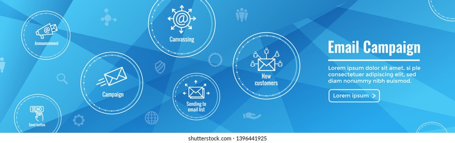 Email marketing campaigns icon set & web header banner