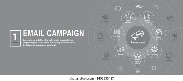 Email marketing campaigns icon set and web header banner