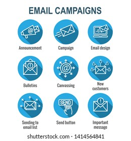 Email marketing campaigns icon set with email list, announcement, and send button