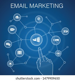 Email Marketing concept, blue background.subscribe, compose mail, Blacklist, internet icons