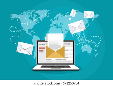 Email marketing concept design. Vector illustration, flat style.