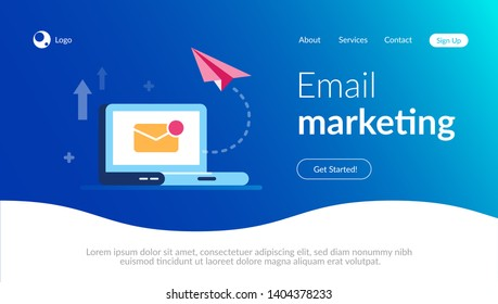 Email marketing concept. New close letter and paper aircraft on the laptop background. E-mail notification. Flat vector illustration.