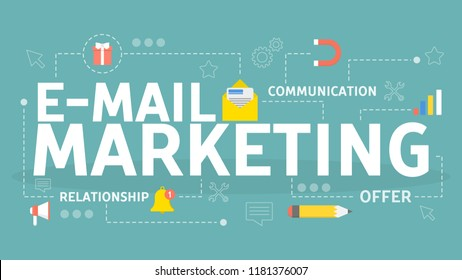 E-mail marketing concept. Online advertising and business promotion in message. Communication with customer in the internet. Isolated vector illustration