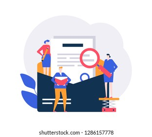 Email marketing - flat design style colorful illustration on white background. Composition with male, female colleagues, business team standing around letter in envelope with magnifying glass, pencil