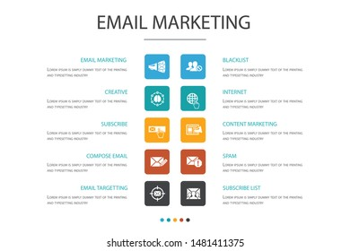 Email Marketing Infographic 10 option concept. subscribe, compose mail, Blacklist, internet simple icons