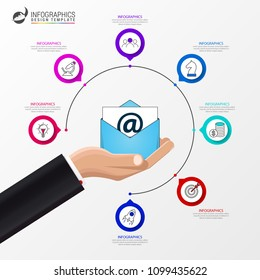 Email marketing. Infographic design template. Business concept with 7 steps. Can be used for workflow layout, diagram, banner, webdesign. Vector illustration