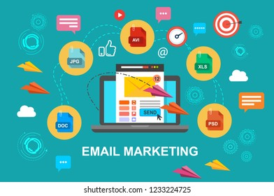 Email marketing, internet advertising concepts. Laptop with envelope and read email on screen. Vector illustration. Flat design.