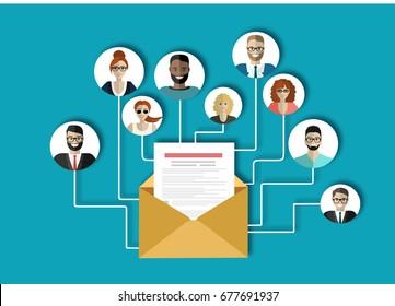 Email marketing, internet advertising concepts. Flat vector illustration.