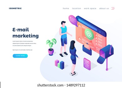 Email marketing landing page vector template. Internet advertising business website homepage interface idea with isometric illustrations. Newsletter subscription web banner 3D cartoon concept