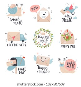 E-mail marketing and News, receiving mail icon set.  Letter advertising concept illustrations with calligraphy text. Perfect for sticker kit, tags. Hand drawn vector.