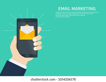 Email marketing, newsletter marketing, email subscription and drip campaign with icon. Flat design, vector illustration on background